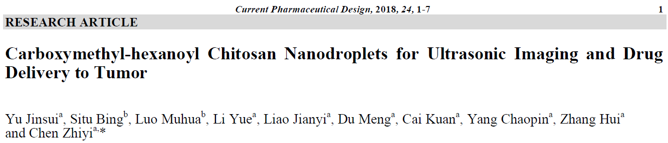 Carboxymethyl-hexanoyl Chitosan Nanodroplets for Ultrasonic Imaging and Drug Delivery to Tumor