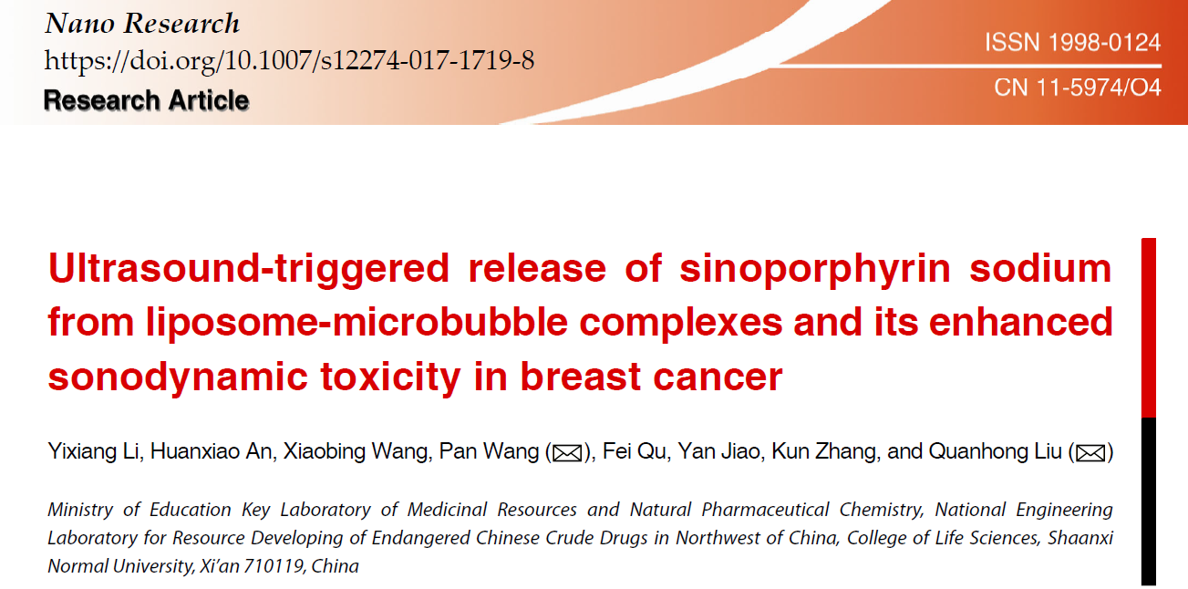 Ultrasound-triggered release of sinoporphyrin sodium from liposome-microbubble complexes and its enhanced sonodynamic toxicity in breast cancer
